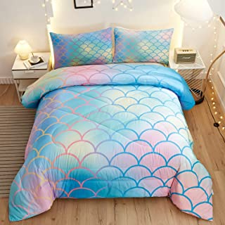 Namoxpa Mermaid Fish Scales Comforter Sets, Magical Colorful Seamless Pattern with Fish Scale net,Blue Pink Mermaid Skin S...