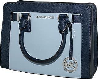 Women's Dillon TOP ZIP SMALL Leather Satchel Handbag,Pale Blue / Navy,9.5