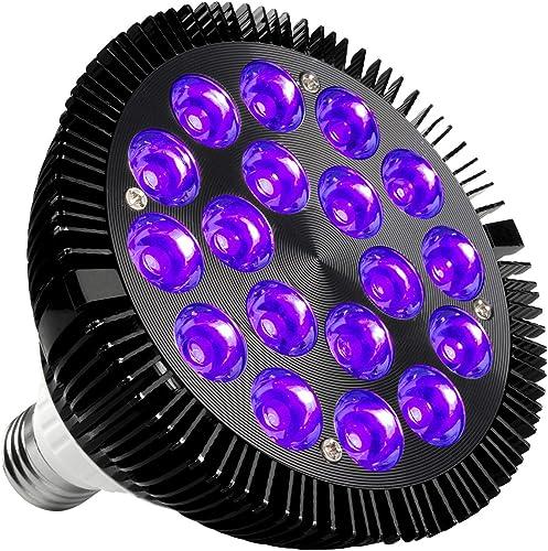 Black Light Bulb, KINGBO 36W LED Blacklight E26 PAR38 Glow in The Dark, 395nm LEDs for Blacklight Party, Fluorescent ...