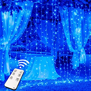 JMEXSUSS 300LED Window Curtain Lights with Remote,8 Modes Waterproof Hanging Curtain Lights, Plug in Curtain String Lights for Indoor, Outdoor Decoration (Blue)