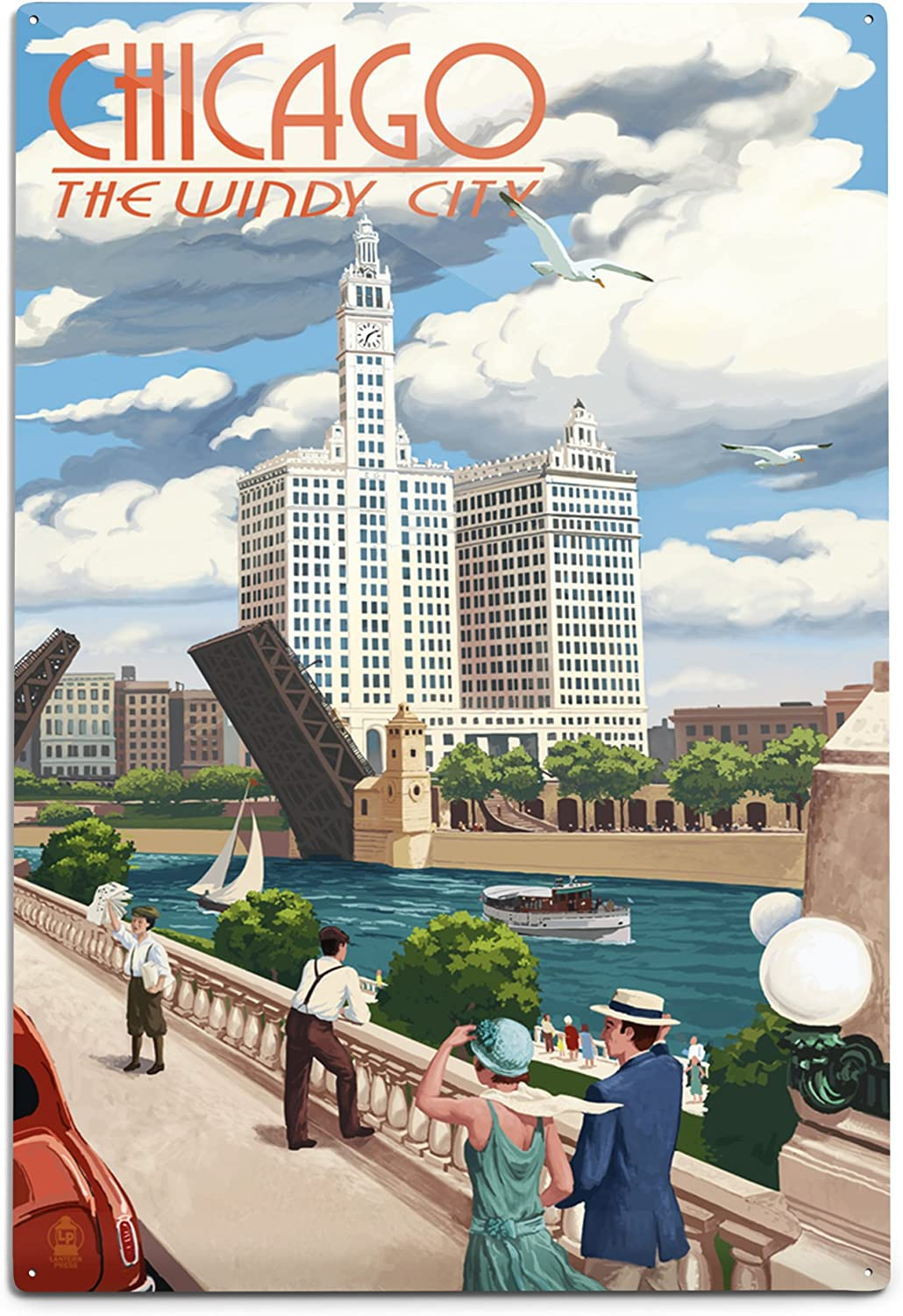online shopping Lantern Press Max 50% OFF Chicago Illinois River 12x18 Aluminum View Wall