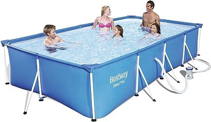 Bestway 56424 - Piscina Desmontable Tubular Infantil Bestway Family Splash Frame Pool (400 x 211 x 81 cm) - Capacidad de 5.700 litros, depuradora de cartucho y valvula de drenaje