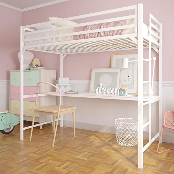 DHP 4307129 英里金属阁楼书桌儿童青少年双人双层床