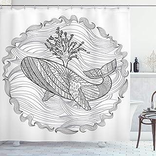 Modern Shower Curtain, Razorback Whale Swimming in Doodle Stylized Ocean Waves Sea Underwater Illustration, Fabric Bathroo...