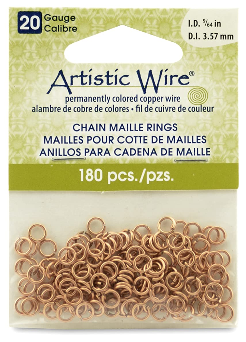 Artistic Wire 20-Gauge Natural Chain Maille Rings, 9/64-Inch Diameter, 180-Pieces