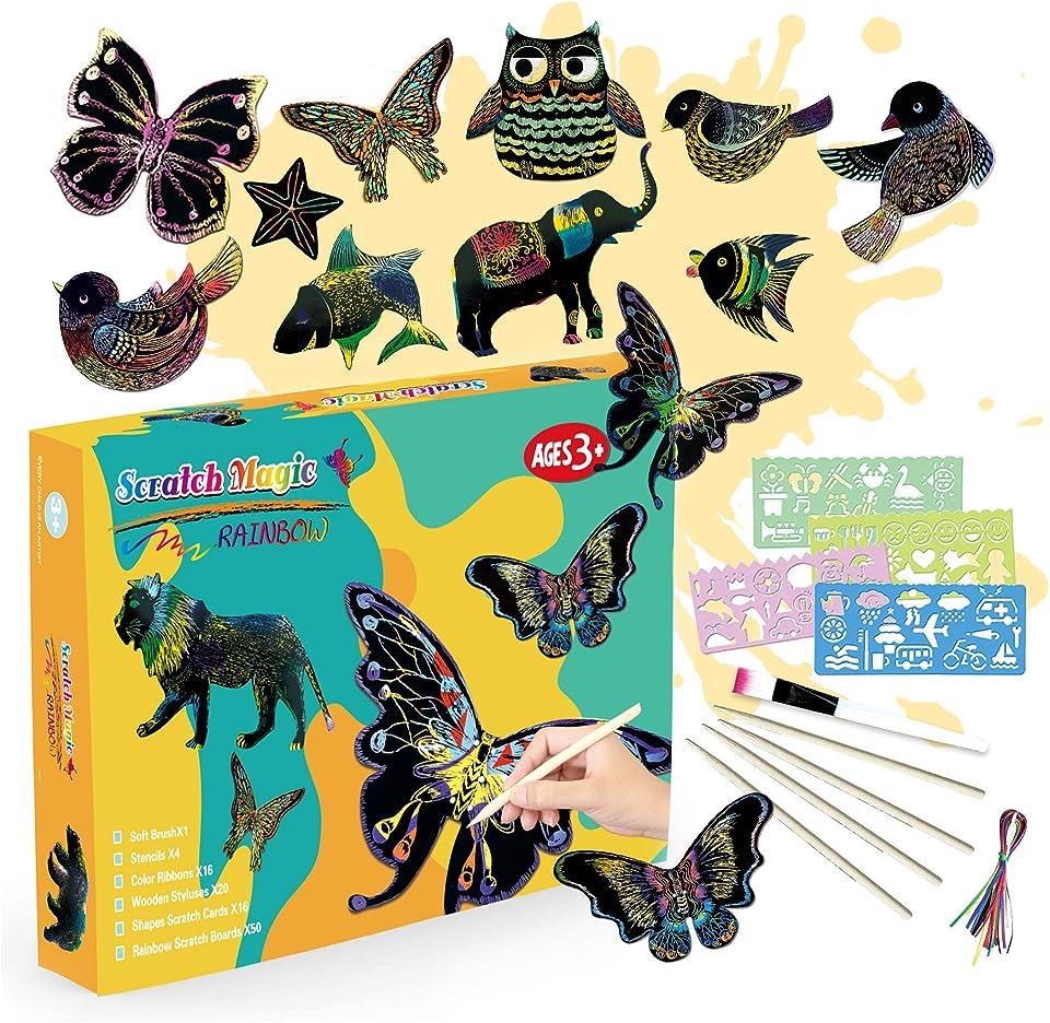 SilverBat Kratzbilder Set für Kinder, 50 Große Blätter Kratzpapier zum Zeichnen und Basteln mit Schablonen und Holzstiften, für Jungs und Mädchen von 3 bis 12