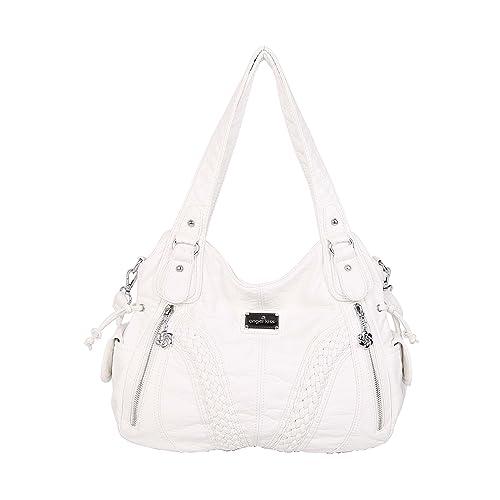 Angelkiss Women Top Handle Satchel Handbags Shoulder Bag Messenger Tote  Washed Leather Purses Bag … 53e1bd249