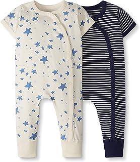 Moon and Back de Hanna Andersson - Pack de 2 peleles de manga corta hechos de algodón orgánico para bebé