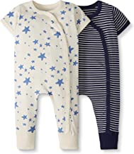 Moon and Back by Hanna Andersson Baby Boys' and Girls' 2-Pack One-Piece Organic Cotton Short Sleeve Romper