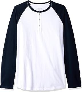 Amazon Essentials - Camiseta de manga larga con corte recto y cuello panadero para hombre