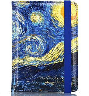 Kandouren RFID Blocking Passport Holder Cover Case,Blue Van gogh Starry Night travel luggage passport wallet made with PU Leather for Men & Women