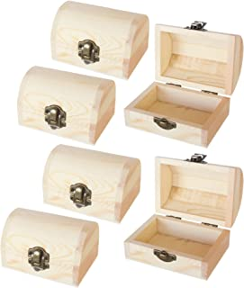 Juvale Unfinished Wood Treasure Chest - 6-Pack Wooden Treasure Boxes Locking Clasp DIY Projects, Home Decor, Props, 2.76 x 3.9 x 2.36 Inches