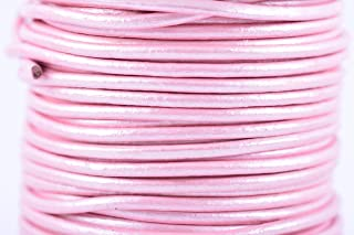 KONMAY 25 Yards2.0mm Metallic Pink Solid Round Genuine/Real Leather Cord Braiding String (2.0MM, Metallic Pink)