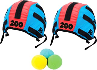 Tossing Head Games for Adults and Kids – Hook and Loop Tape Target Cap and Ball Toss Game Set with 5 Pieces, 2 Headbands Caps Hats and 3 Soft Balls Indoor Outdoor Tossing Games Ideal Gift Ideas