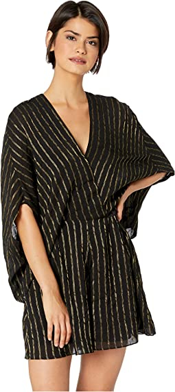 Cape Sleeve V-Neck Faux Wrap Romper