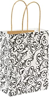 Fun Express Medium Black & White Kraft Paper Gift Bags | 12 Count | Great for Wedding Party, Bridal Shower, Engagement Party, Birthday Celebration, Party Favor