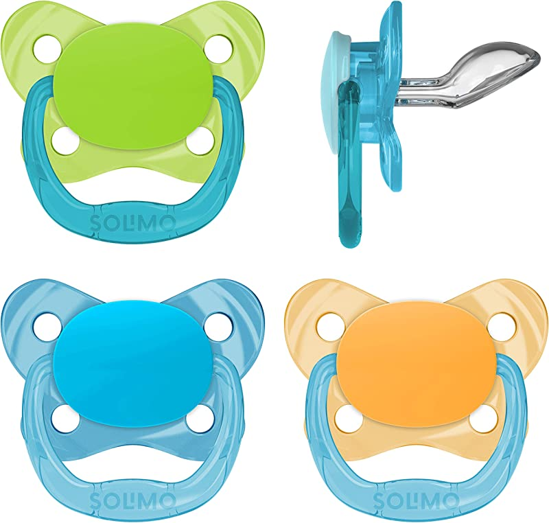 Amazon Brand Solimo Orthodontic Baby Pacifier Stage 2 6 12M BPA Free Assorted Colors Pack Of 4