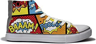 Rivir Latest & Stylish Printed Canvas High Top Sneakers Shoes for Men & Women- (Funky Print)