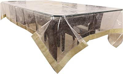 Kuber Industries Laminated Patch PVC 6 Seater Dining Table Cover - Transparent
