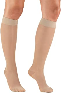 Truform Sheer Compression Stockings, 15-20 mmHg, Women's Knee High Length, 20 Denier, Nude, Small