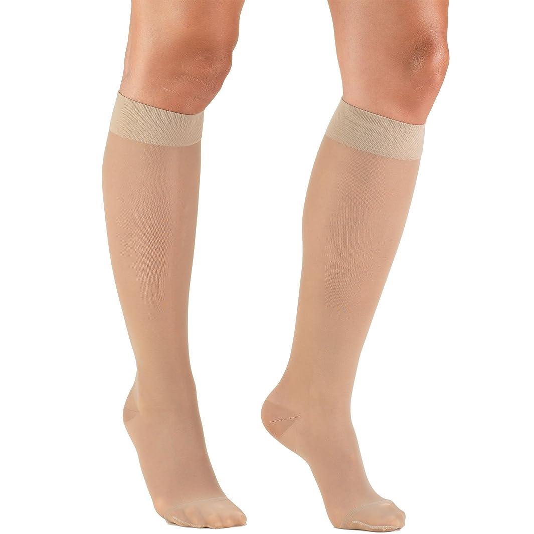 Truform Sheer Compression Stockings, 15-20 mmHg, Women's Knee High Length, 20 Denier, Nude, Large