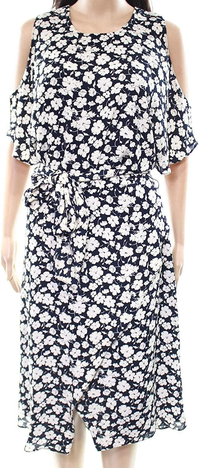 Ralph Lauren Womens Printed Cold Shoulder Wrap Dress Nvywht 10