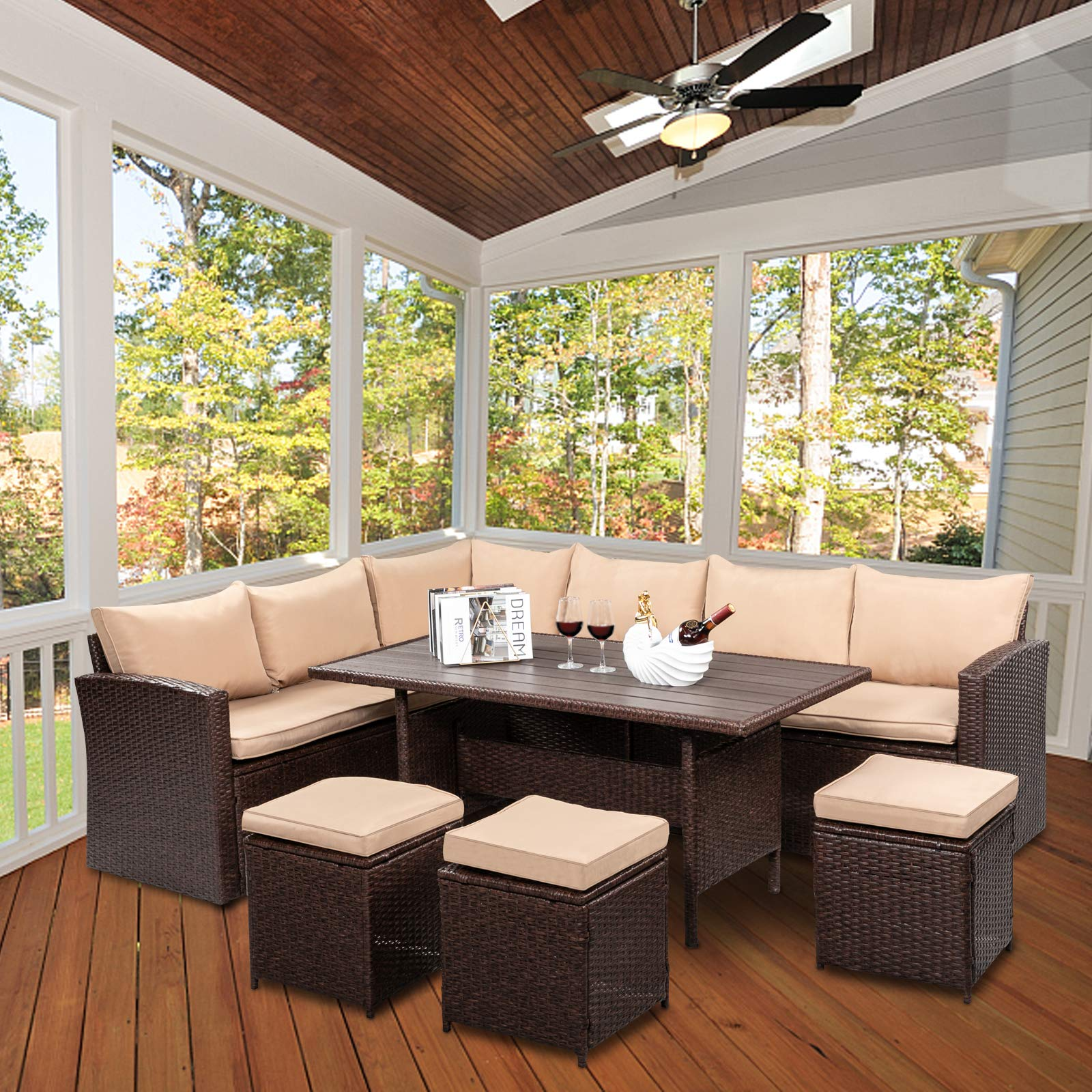 VINGLI 8 Pieces Patio Furniture Set, All Weather Wicker Patio Sectional Furniture Set Rattan Sofa Couch, Outdoor Dining Ta...