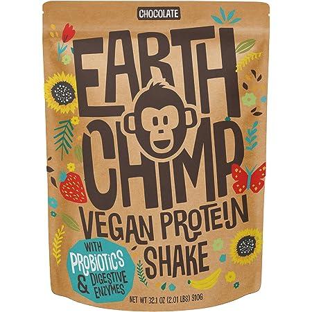 EarthChimp Vegan Protein Powder (26 Servings, 32 Oz) with Probiotics, Organic Fruits & Plant Based Protein Powder, Dairy Free, Gluten Free, Gum Free, Lactose Free, Non GMO, (Chocolate)