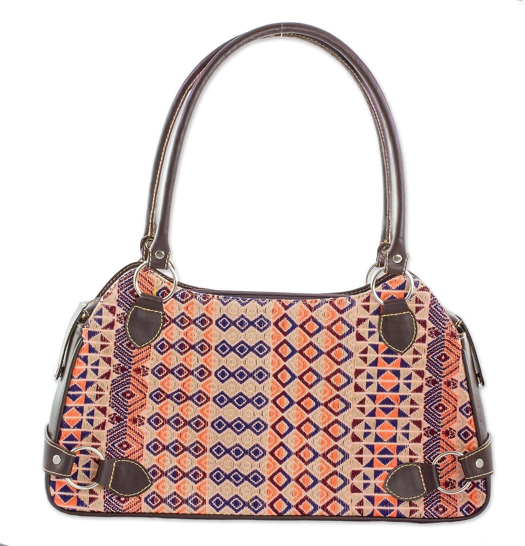 NOVICA Multicolor Cotton Hand Woven Shoulder Bag, Geometric Imagination'