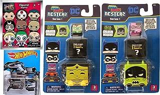 Batman Hot Wheels The Bat DC Comics + Kawaii Cubes Stackable Nesterz Pack & Suicide Squad 3D Foam Key Ring Blind Bag characters collectible toy bundle set