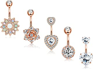 5Pcs 14G Belly Button Rings Surgical Steel Sunflower Flower Rose Heart CZ Navel Ring Set Rose Gold Silver Tone Belly Piercings Body Jewelry