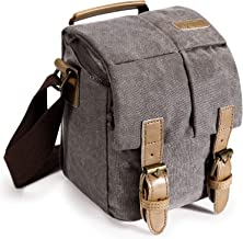 S-ZONE Fashion Vintage Waterproof Casual Canvas Camera Bag Shoulder Case with Shockproof Insert Tablet Pocket for Canon for Nikon for Sony for Pentax DSLR and Accessories