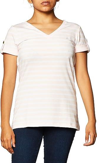 Nautica Women's Easy Comfort V-Neck Striped Supersoft Stretch Cotton T-Shirt white t shirt for women