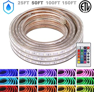 WYZworks LED Rope Lights, 50 ft Waterproof Color Changing Strip Light for Outdoor & Indoor Use - Flexible Dimmable Lighting with Remote Controller 16 Colors & Multi Modes - 25, 50, 100, 150 feet