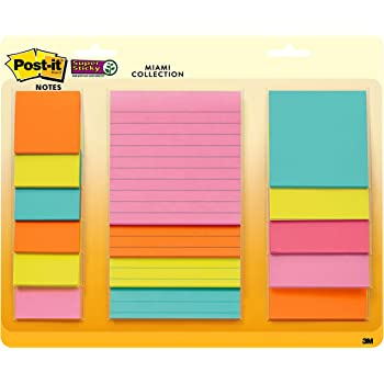 Post-it Super Sticky Notes, Assorted Sizes, 15 Pads, 2x the Sticking Power, Miami Collection, Neon Colors (Orange, Pink, Blue, Green), Recyclable (4423-15SSMIA)
