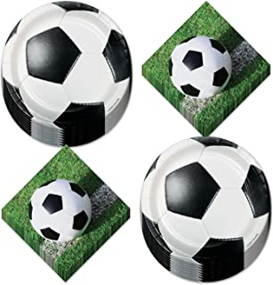 Soccer Party Supplies - Dessert Plates and Napkins (Serves 16)