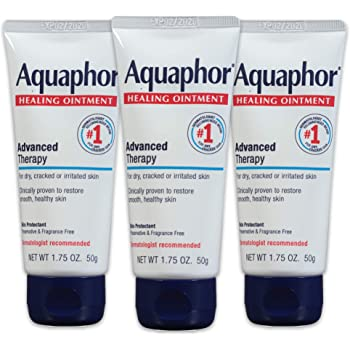 Aquaphor Healing Ointment - Pack of 3, Travel Size Protectant for Cracked Skin - Dry Hands, Heels, Elbows, Lips - 1.75 oz.