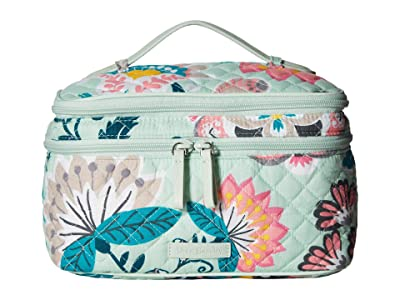 Vera Bradley Iconic Brush Up Cosmetic Case (Mint Flowers) Wallet