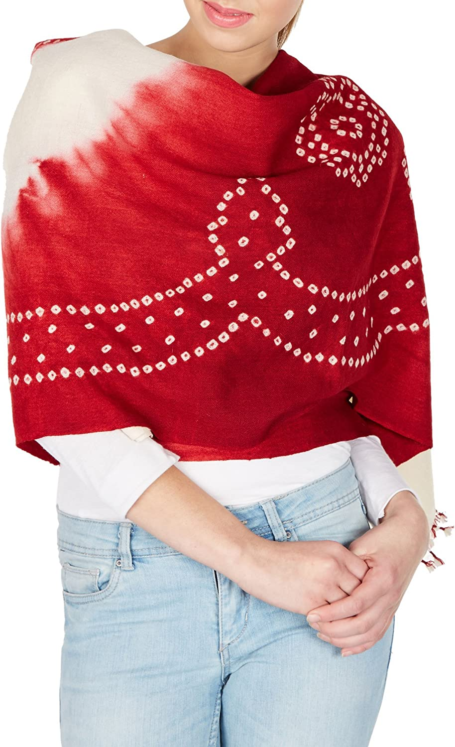Maroonred Cream Handmade Shawls For Women, Woolen Tie Dye From India Gifts 36X80