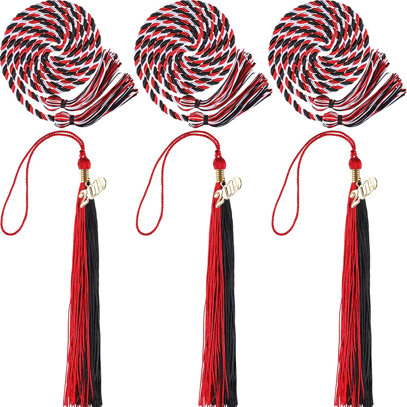 3 Pieces 2019 Graduation Tassels and 3 Pieces Graduation Cords Polyester Yarn Honor Cords Grad Party Tassel Cord Decoration for Party Supplies (Mixed Color)