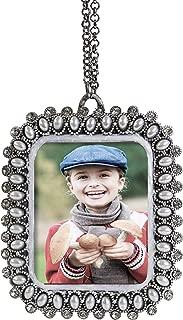 Fennco Styles Vintage Mini Silver Pearls Rhinestone Jeweled Photo Frame Ornament - Sold per 1 (Rectangle)