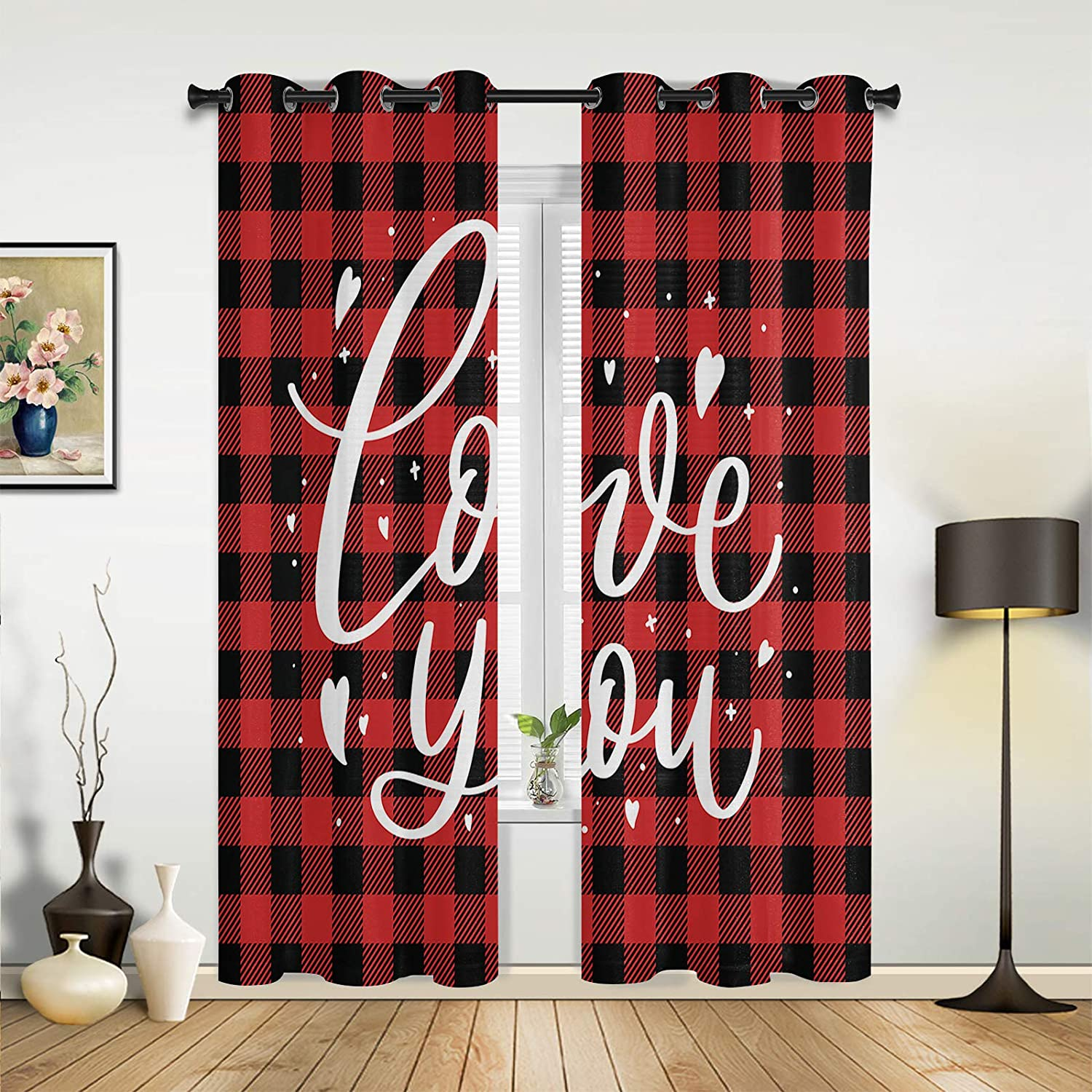 Window Ranking TOP11 Curtains Drapes Panels Valentine's You Red Elegant Love Day Buffa