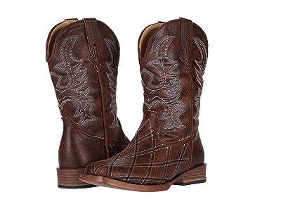 Roper Kids Cross Cut (Toddler/Little Kid) (Brown Vamp/Brown Shaft) Cowboy Boots