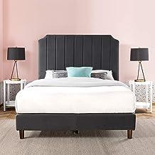 Zinus Charlotte Velvet Double Bed Frame | Fabric Upholstered Platform - Slate Dark Grey Velvet