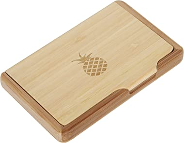 Pineapple Bamboo Business Card Holder with Laser Engraved Design - Business Card Keeper - Holds Up to 10 Cards - Lightweight
