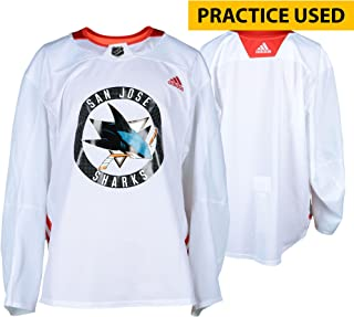 9359ba28 San Jose Sharks Practice-Used White Adidas Jersey from Practice of the  2017-18