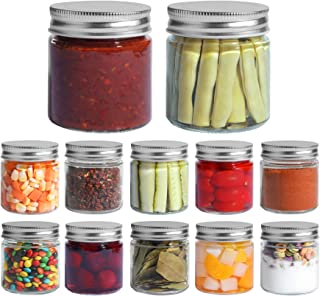 ComSaf Mason Jars with Airtight Metal Regular Lids(8oz/250ml), Sealed Clear Glass Canning Jars with Wide Mouth for Spices,...