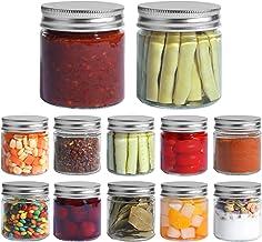 ComSaf Glass Jar, Set of 12 Mason Jars with Airtight Metal Regular Lids(8oz/250ml), Sealed Clear Glass Canning Jars with W...