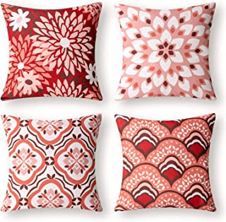Phantoscope Set of 4 New Living Series Dahlia and Oriental Print Decorative Throw Pillow Case Cushion Cover, Red and Pink,...