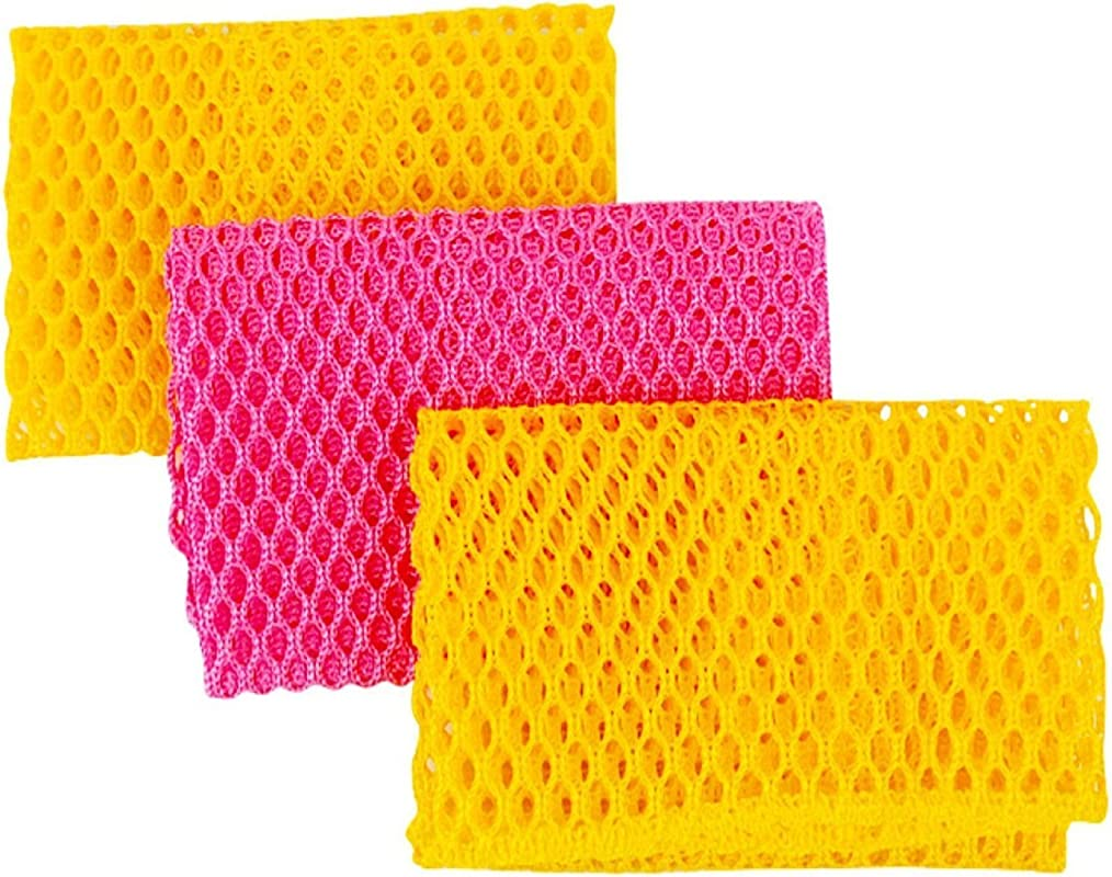 Innovative Dish Washing Net Cloths Scourer 100 Odor Free Quick Dry No More Sponges With Smell Perfect Scrubber For Washing Dishes 11 By 11 Inches 3PCS Yellow Pink Yellow Or Pink Yellow Pink